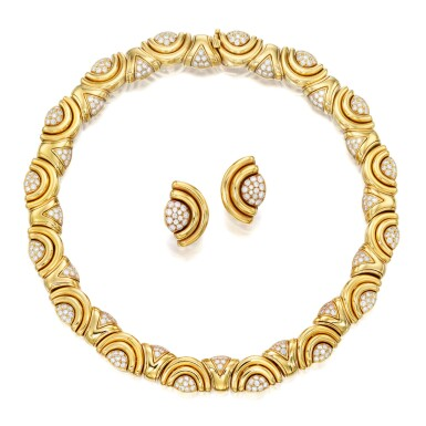 View 1. Thumbnail of Lot 143. Bulgari   Gold and Diamond Necklace and Pair of Earclips.