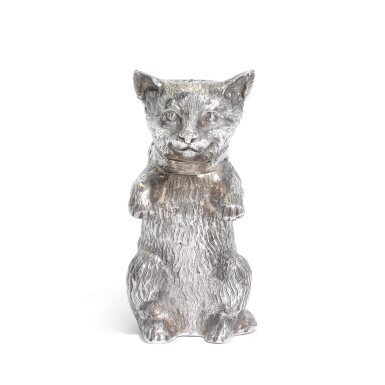 View 1. Thumbnail of Lot 27. An Elizabeth II silver caster in the form of a cat, Edward Barnard & Sons Ltd., London, 1962.