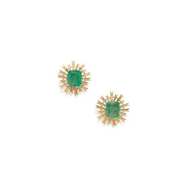 View 1. Thumbnail of Lot 101.  PAIR OF GOLD AND EMERALD EARCLIPS, SEAMAN SCHEPPS.
