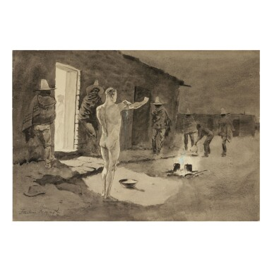FREDERIC REMINGTON | AN EARLY MORNING BATH (A CURIOUS CUSTOM IN MEXICO)