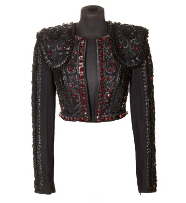 View 1. Thumbnail of Lot 10. A Matador Inspired Handmade Short Jacket in Leather Details and Swarovski Crystals made for Madonna, circa 2015.
