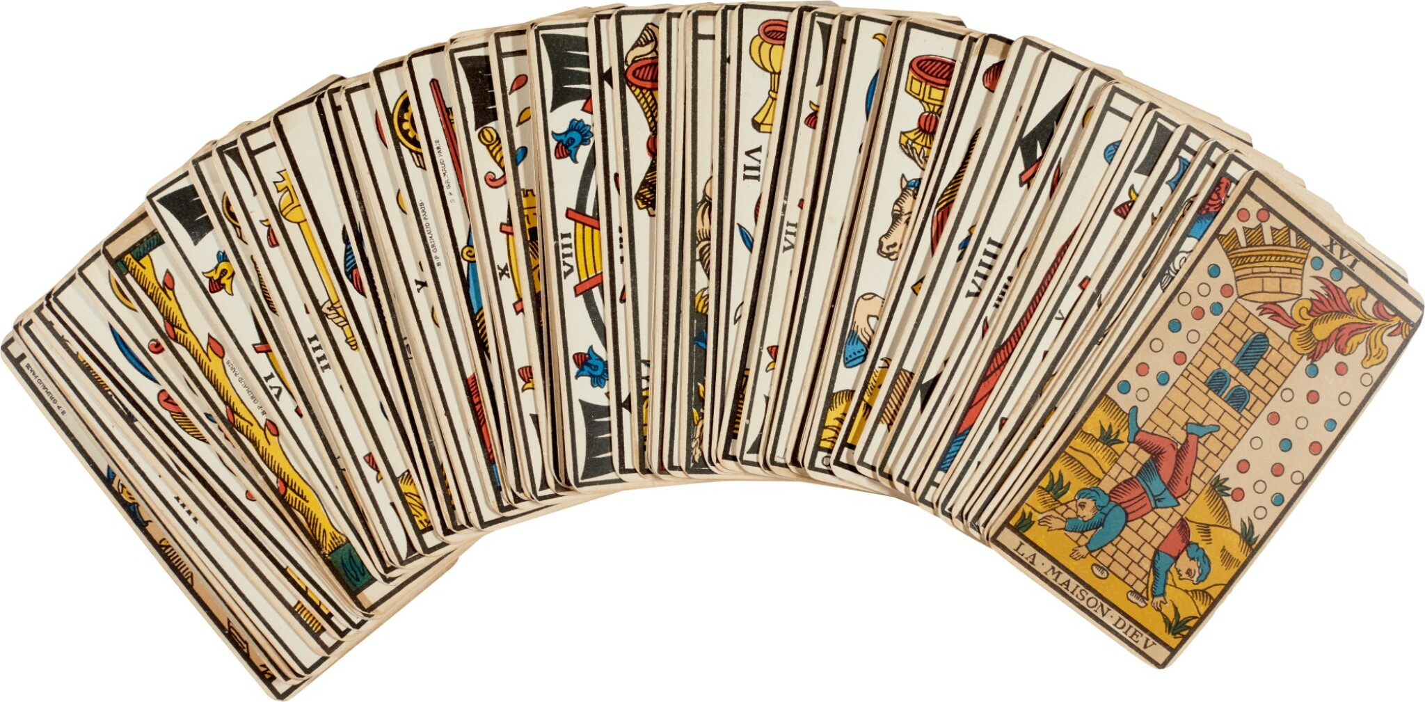 View full screen - View 1 of Lot 22. Tarot de Marseille | Deck of cards owned by Sylvia Plath.