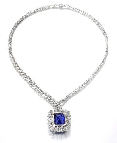 View 3. Thumbnail of Lot 178. Harry Winston | Exceptional and important sapphire and diamond necklace | 海瑞溫斯頓 | 藍寶石配鑽石項鏈.