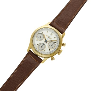 View 6. Thumbnail of Lot 101. A yellow gold chronograph wristwatch, Circa 1955 .