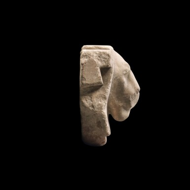 View 2. Thumbnail of Lot 49. An Egyptian Limestone Head of a Lion, Ptolemaic Period, 305-30 B.C..