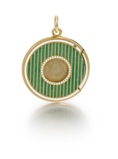 View 2. Thumbnail of Lot 9. A Fabergé gold and guilloché enamel cigar cutter, Moscow, circa 1900.