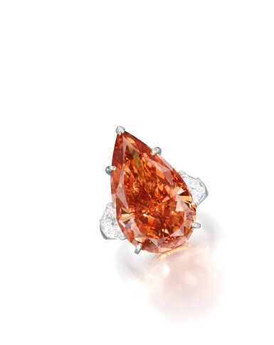 View 2. Thumbnail of Lot 1743. Cartier | A Highly Important and Exceptional Fancy Deep Pinkish Orange Diamond and Diamond Ring | 卡地亞 | 23.48克拉 深彩粉紅橙色鑽石 配 鑽石 戒指.