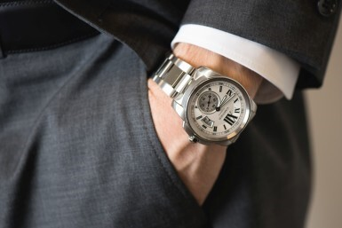 View 4. Thumbnail of Lot 16. CARTIER | CALIBRE DE CARTIER, REFERENCE 3389, STAINLESS STEEL WRISTWATCH WITH DATE AND BRACELET, CIRCA 2011.