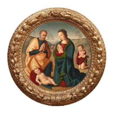 MASTER OF THE CAMPANA TONDO | HOLY FAMILY WITH ST. JOHN THE BAPTIST IN A LANDSCAPE, ST. NICHOLAS IN THE DISTANCE