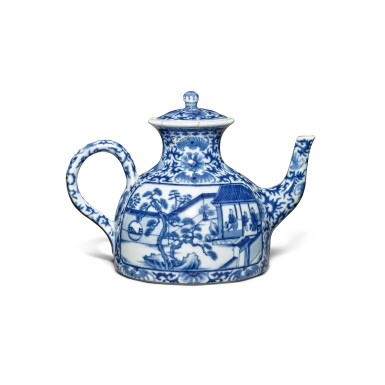View 2. Thumbnail of Lot 76. An imperially inscribed blue and white 'Mount Hui Temple' teapot and cover, Seal mark and period of Qianlong | 清乾隆 青花御題詩烹茶圖闊底壺 《大清乾隆年製》款.