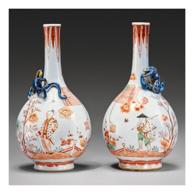 A PAIR OF DUTCH-DECORATED CHINESE FAMILLE-VERTE 'CHILONG' BOTTLE VASES, THE PORCELAIN QING DYNASTY, KANGXI PERIOD, THE DECORATION SLIGHTLY LATER | 清康熙 五彩貼螭龍荷蘭後加彩人物庭院圖長頸瓶