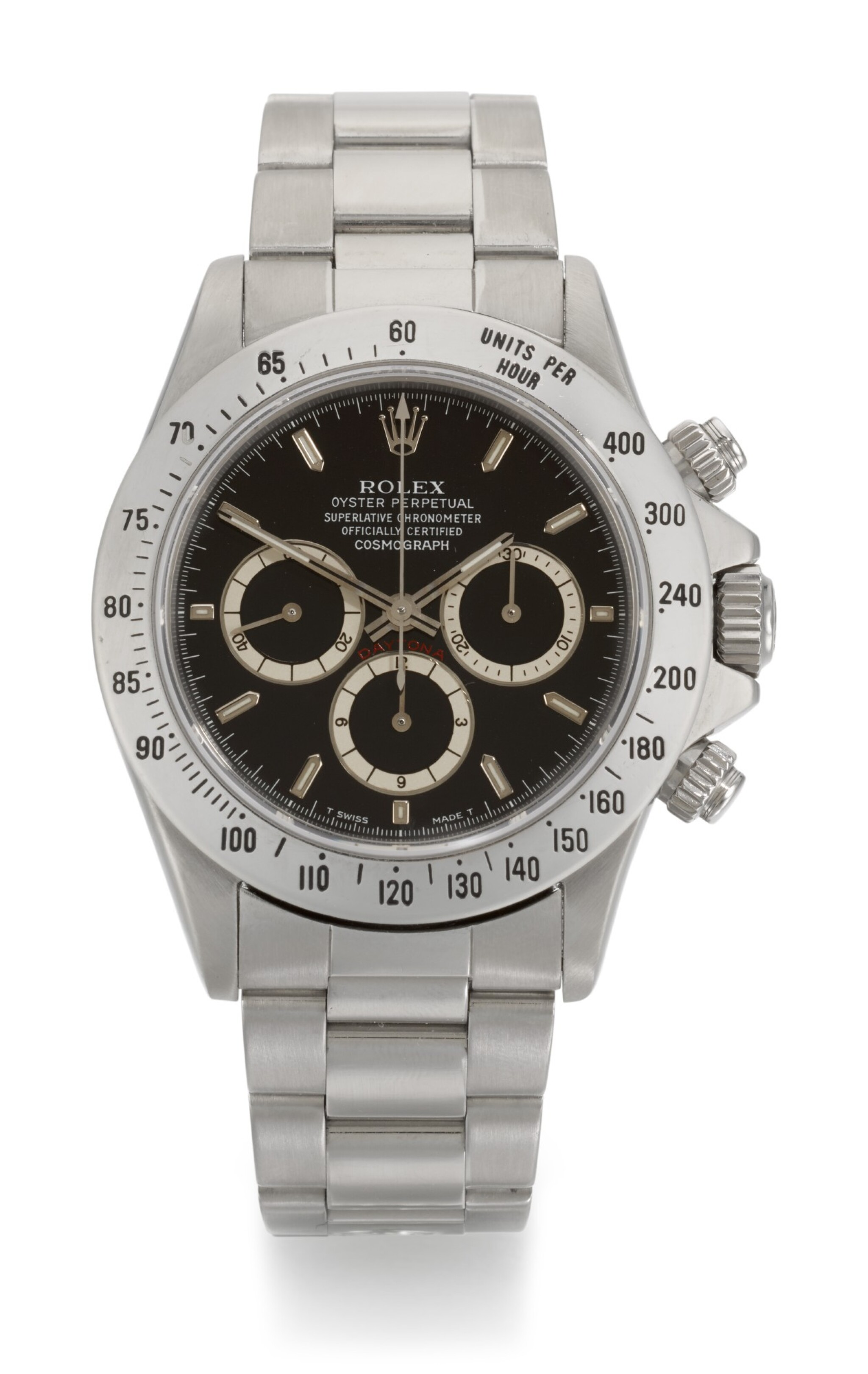 View full screen - View 1 of Lot 65. ROLEX   DAYTONA INVERTED SIX, REFERENCE 16520, STAINLESS STEEL CHRONOGRAPH WRISTWATCH WITH BRACELET, CIRCA 1991.