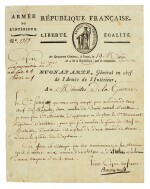 NAPOLEON I | early signed letter, as Commander-in-Chief of the Army of the Interior, to the Minister of War, [1796]