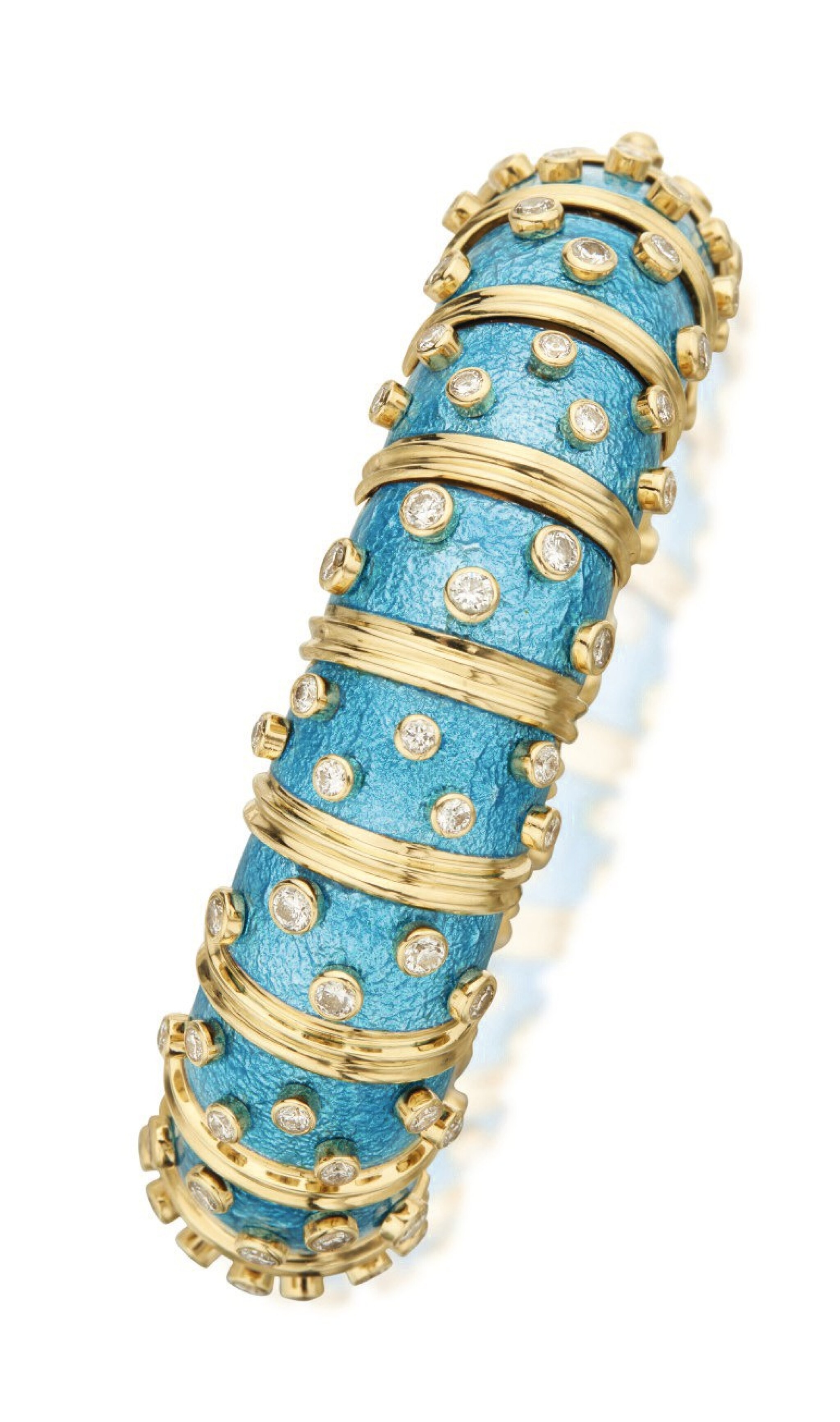 View full screen - View 1 of Lot 7. SCHLUMBERGER FOR TIFFANY & CO. | GOLD, ENAMEL AND DIAMOND BANGLE-BRACELET.