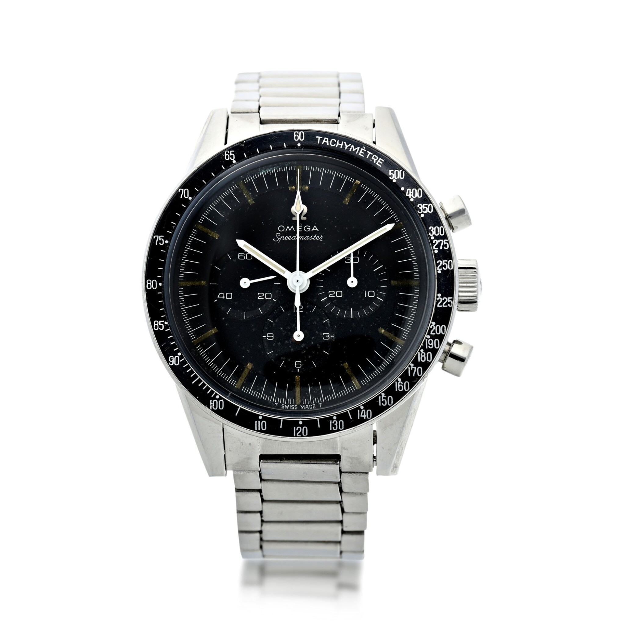 View full screen - View 1 of Lot 76. REFERENCE ST 105.003-65 SPEEDMASTER 'ED WHITE' A STAINLESS STEEL CHRONOGRAPH WRISTWATCH WITH BRACELET, CIRCA 1965.