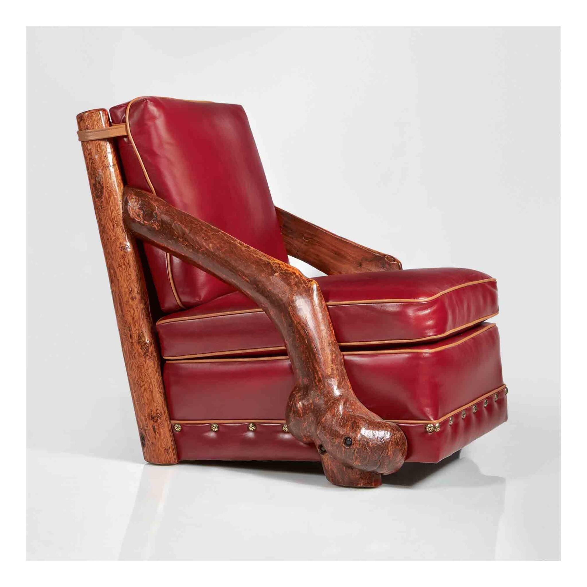 View 1 of Lot 308. A Unique Slant-Arm Club Chair.