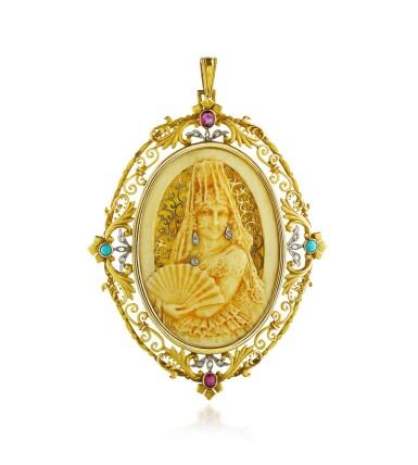 View 1. Thumbnail of Lot 22. Pendentif ivoire, corne, pierres de couleur et diamants   Ivory, horn, gem set and diamond pendant.