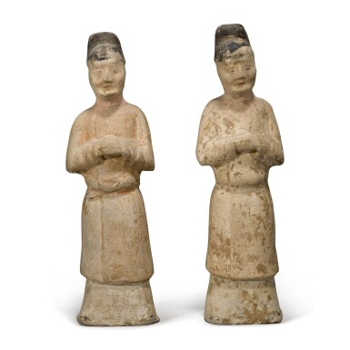 View 1. Thumbnail of Lot 108. Two painted pottery figures of attendants, Tang dynasty.