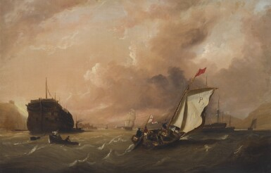 FREDERICK CALVERT | Warships at anchor in a bay, and other shipping in a light breeze