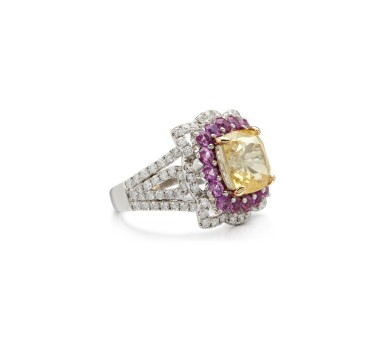 View 2. Thumbnail of Lot 7. COLOURED SAPPHIRE AND DIAMOND RING.