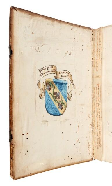 View 3. Thumbnail of Lot 43. Alexander de Ales, Super universae theologiae, Venice, 1475, contemporary Germanic pigskin binding.