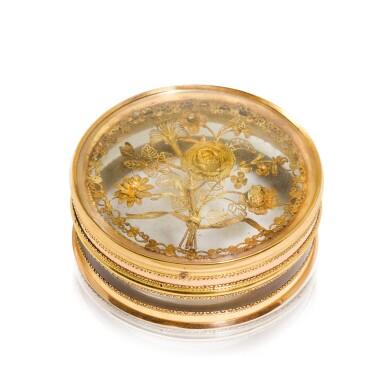 View 1. Thumbnail of Lot 311. A glass bonbonniere with two-colour gold mounts, Pierre-Denis Chaumont, Paris, 1789-92.