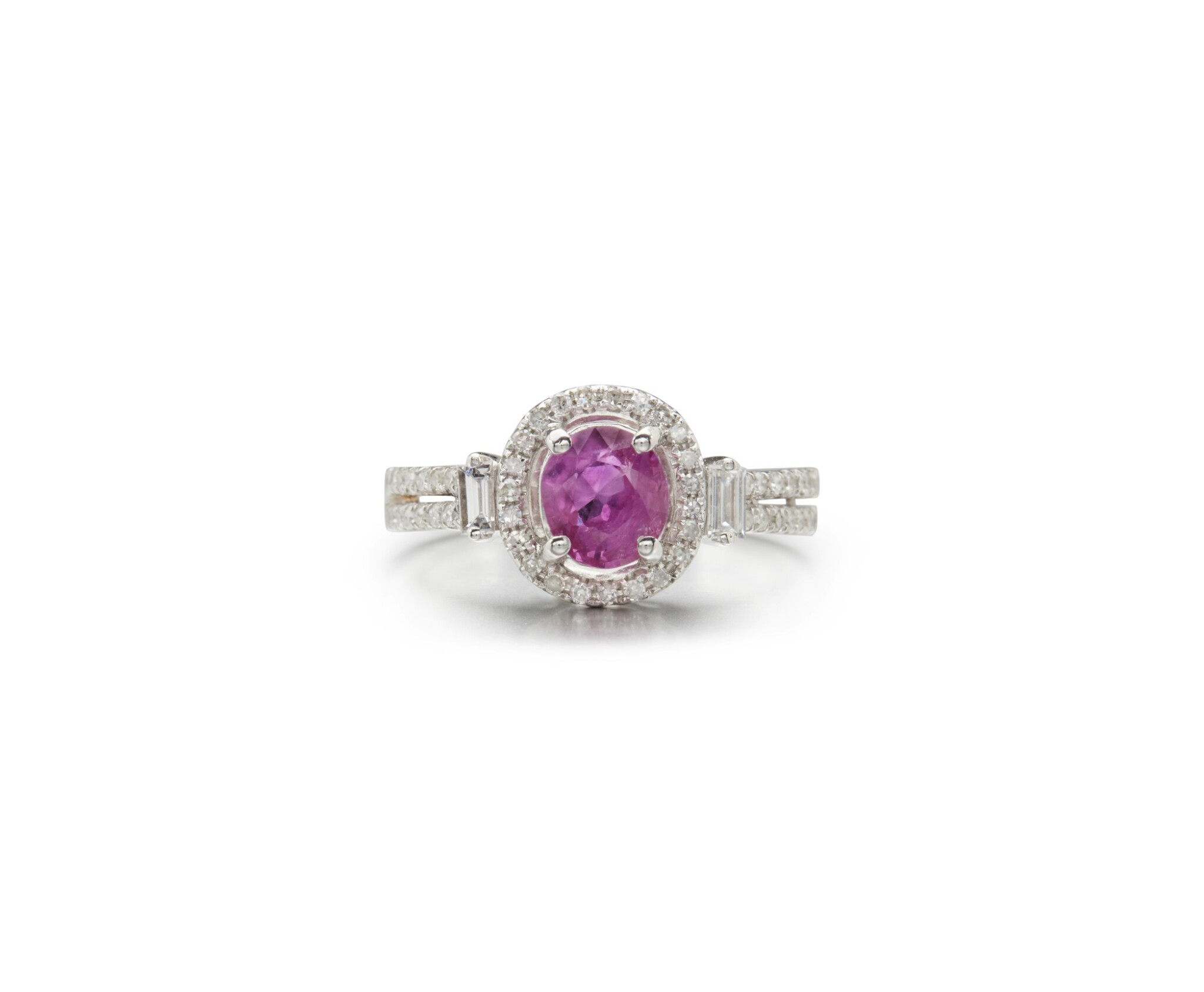 View full screen - View 1 of Lot 45. PINK SAPPHIRE AND DIAMOND RING.