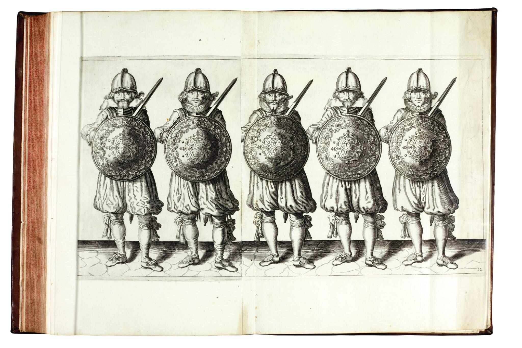View full screen - View 1 of Lot 218. Gheyn, Maniement d'Armes, 1608 [and] Breen, De Nassausche Wapen-Handlinge, 1618 .