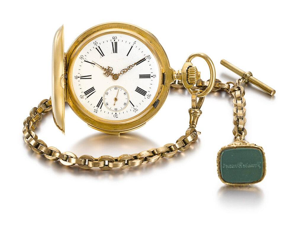 SWISS | A GOLD HUNTING CASED MINUTE REPEATING KEYLESS LEVER WATCH  CIRCA 1890, NO. 93104