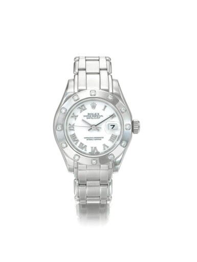 ROLEX | REF 69319 DATEJUST, A WHITE GOLD AND DIAMOND SET AUTOMATIC CENTER SECONDS WRISTWATCH WITH DATE AND BRACELET CIRCA 1995