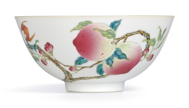 View 2. Thumbnail of Lot 3622. AN EXTREMELYFINE AND RARE FAMILLE-ROSE 'PEACH' BOWL MARK AND PERIOD OF YONGZHENG | 清雍正 粉彩過枝福壽雙全盌 《大清雍正年製》款.