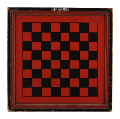 View 2. Thumbnail of Lot 1453. RED AND BLACK PAINTED WOODEN DOUBLE-SIDED TWELVE MEN'S MORRIS GAMEBOARD, NEW ENGLAND, 1850-70.
