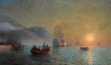 View 1. Thumbnail of Lot 21. Columbus' Farewell before Starting on his Voyage from Port Palos in Spain.