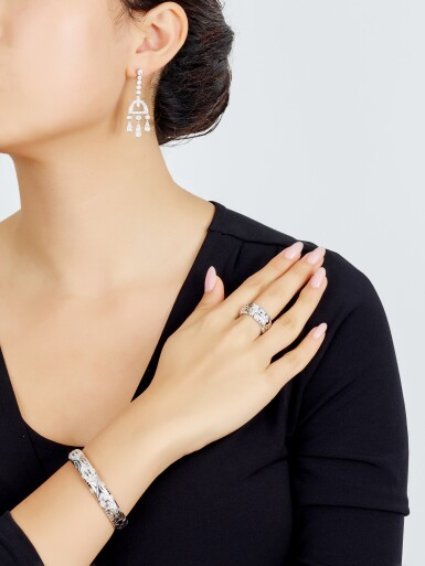 View 4. Thumbnail of Lot 9168.  PAIR OF DIAMOND PENDENT EARRINGS, TIFFANY & CO.   鑽石吊耳環一對, 蒂芙尼 ( Tiffany & Co. ).