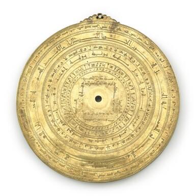 View 4. Thumbnail of Lot 66. A gilt-brass astrolabe signed by Ahmad ibn Abu 'Abdallah al-Qurtubi al-Yamani, North-East Spain, Tudela, dated 737 AH/1336-37 AD.