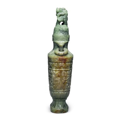 View 4. Thumbnail of Lot 167. An archaistic spinach-green jade vase and cover, 20th century.