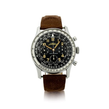 View 1. Thumbnail of Lot 81. NO REFERENCE AOPA NAVITIMER A RARE AND EARLY STAINLESS STEEL CHRONOGRAPH WRISTWATCH, MADE IN 1955.