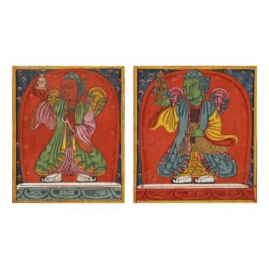 View 1. Thumbnail of Lot 314. A PAIR OF TSAKALI DEPICTING GUARDIANS,  TIBET, 13TH CENTURY.