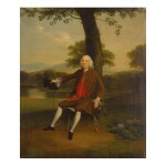 ARTHUR DEVIS | PORTRAIT OF A GENTLEMAN SEATED, FULL-LENGTH, IN A BROWN COAT AND RED WAISTCOAT, HIS HAT AND CANE IN HIS HAND, BEFORE A RIVER LANDSCAPE