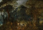 ABRAHAM GOVAERTS | Wooded landscape with a boar hunt