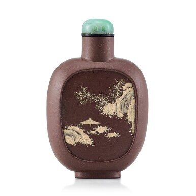 View 2. Thumbnail of Lot 3059. An Yixing Slip-Decorated 'Landscape' Snuff Bottle Qing Dynasty, 19th Century | 清十九世紀 宜興紫砂堆料加彩山水人物圖鼻煙壺.