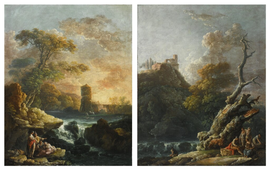 CARLO BONAVIA   TWO ARCADIAN RIVER LANDSCAPES WITH WATERFALLS AND FIGURES IN THE FOREGROUND