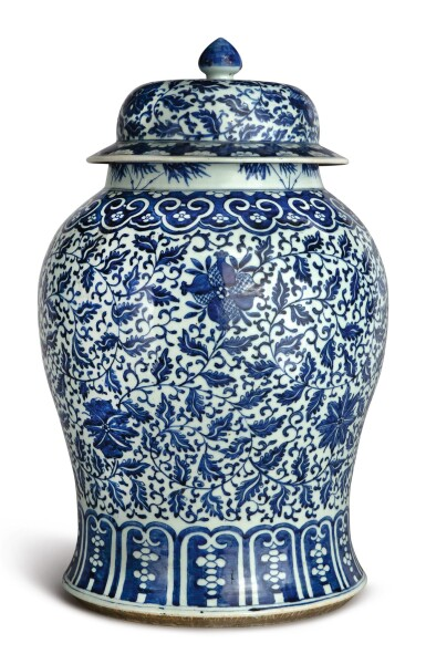 View 3. Thumbnail of Lot 1133. A BLUE AND WHITE 'FLORAL' BALUSTER JAR AND COVER, 19TH CENTURY.