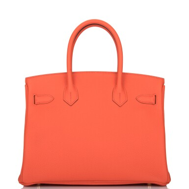 View 4. Thumbnail of Lot 138. Hermès Orange Poppy Birkin 30cm of Togo Leather with Gold Hardware.