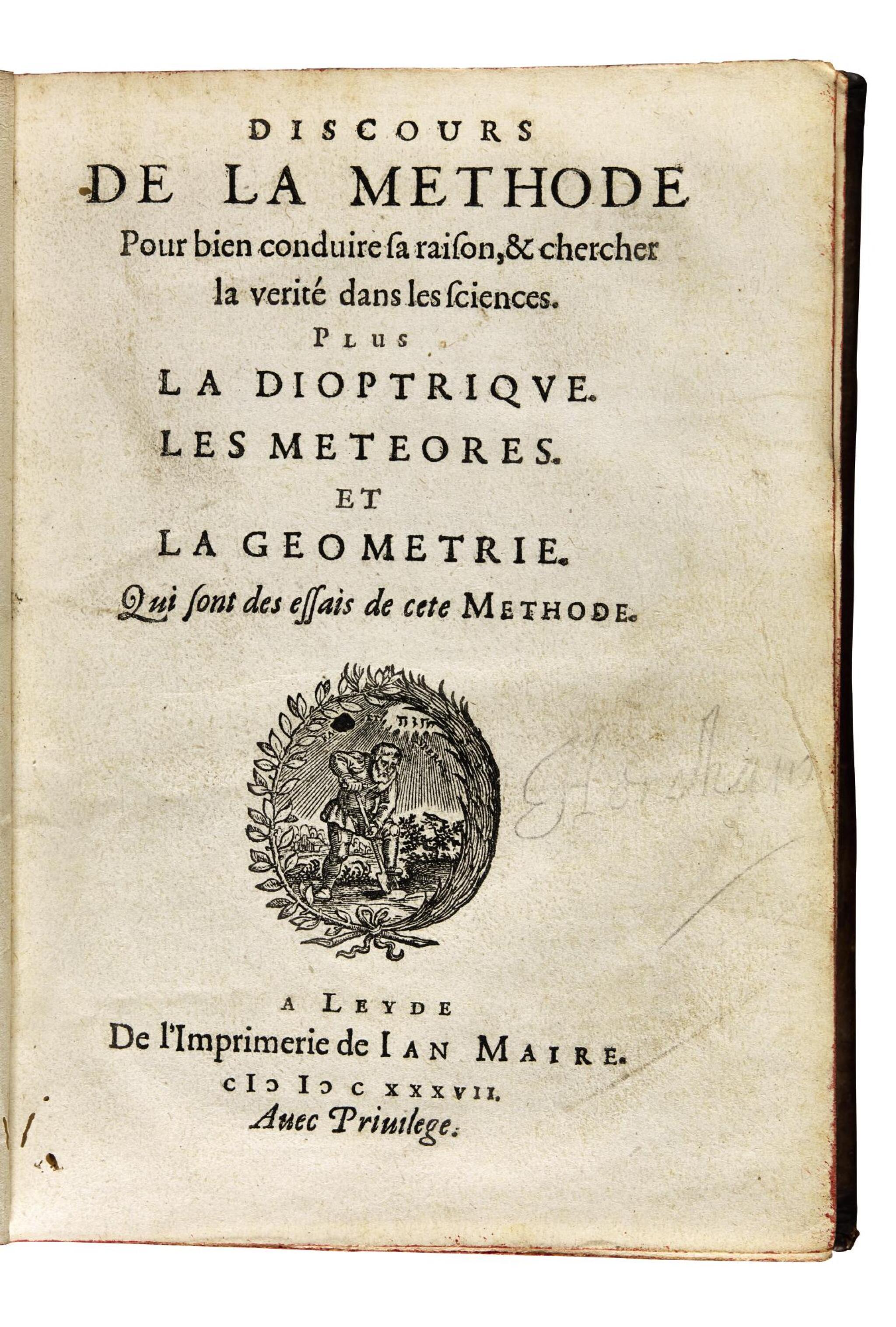 View full screen - View 1 of Lot 164. Descartes, Discours de la methode, Leiden, 1637, contemporary calf.
