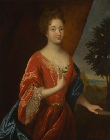 FOLLOWER OF JEAN-BAPTISTE SANTERRE | PORTRAIT OF A LADY, THREE-QUARTER-LENGTH, IN A RED DRESS WITH A BLUE WRAP, HOLDING AN ORANGE BLOSSOM, AN ORANGE TREE IN THE LANDSCAPE BEYOND