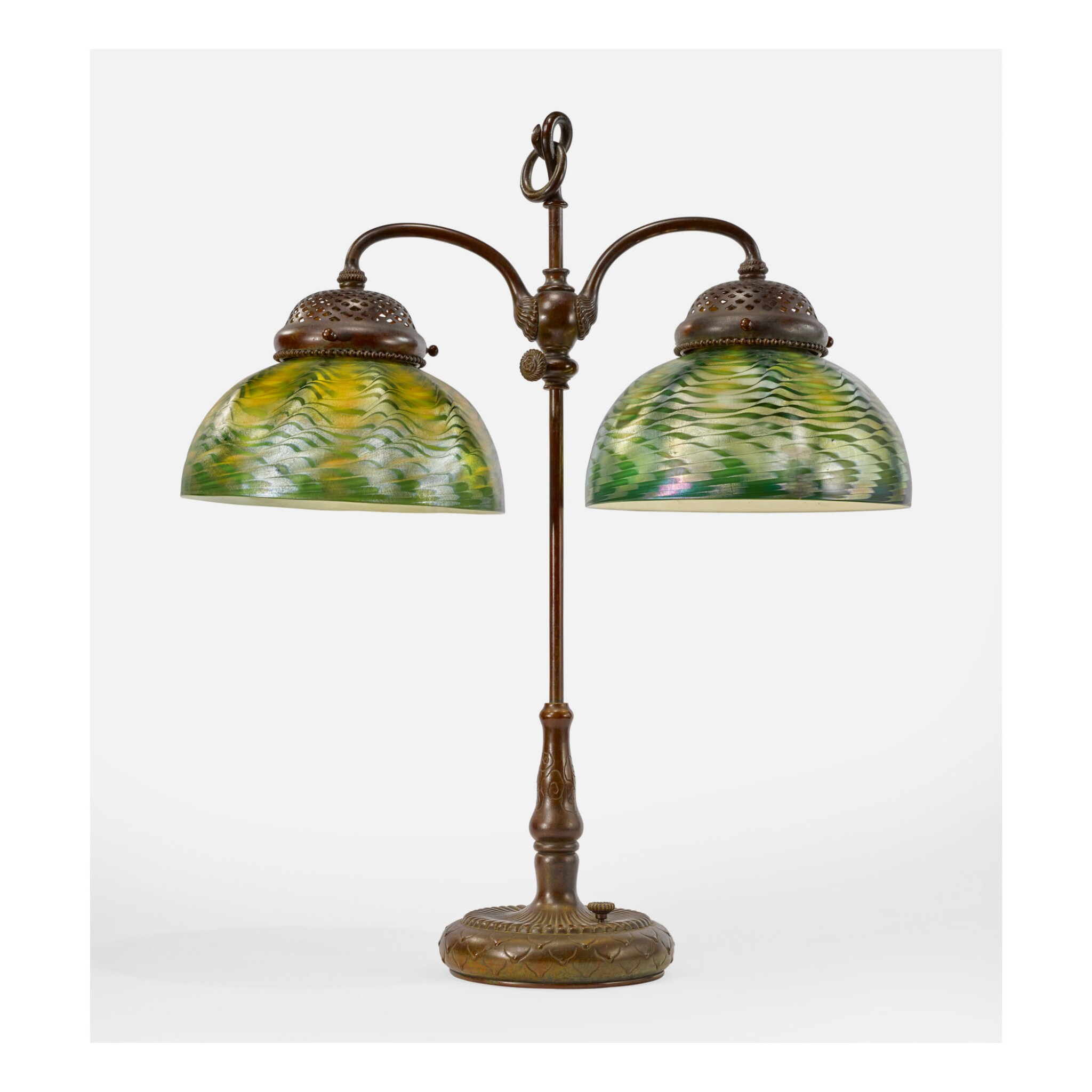 TIFFANY STUDIOS | ADJUSTABLE DOUBLE STUDENT LAMP
