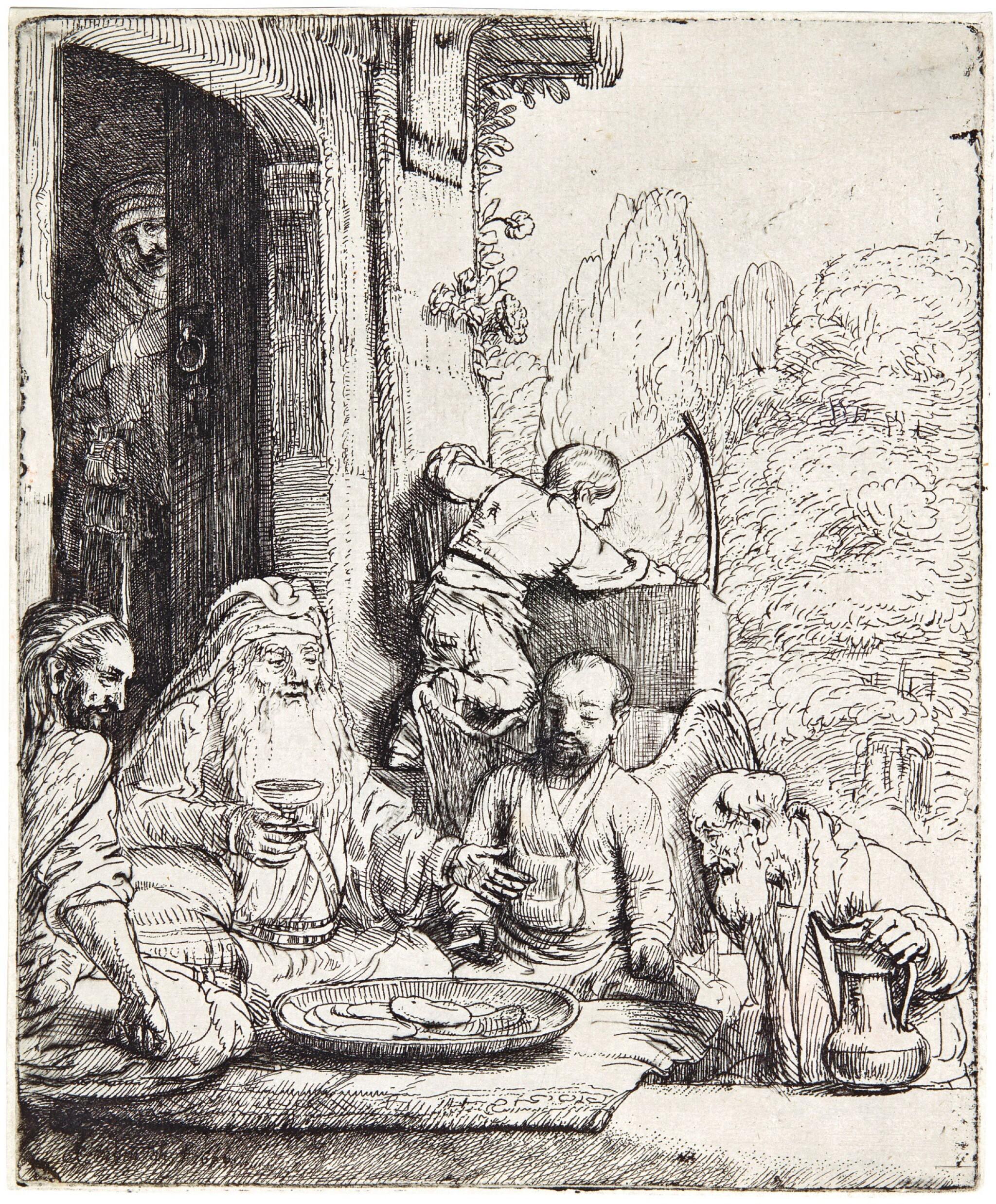 View 1 of Lot 57. REMBRANDT HARMENSZ. VAN RIJN | ABRAHAM ENTERTAINING THE ANGELS (B., HOLL. 29; NEW HOLL. 295; H. 286).