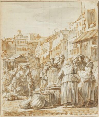 NICOLAS-BERNARD LÉPICIÉ | Women gathered at a street market
