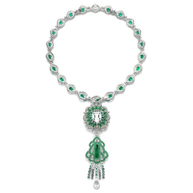View 3. Thumbnail of Lot 38. Emerald and diamond necklace.